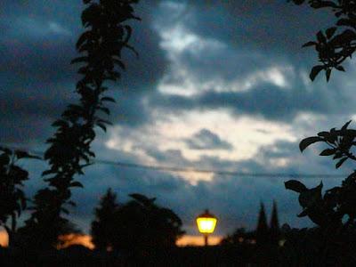 paisaje nocturno: claro entre nubes, sombras de árboles y farola