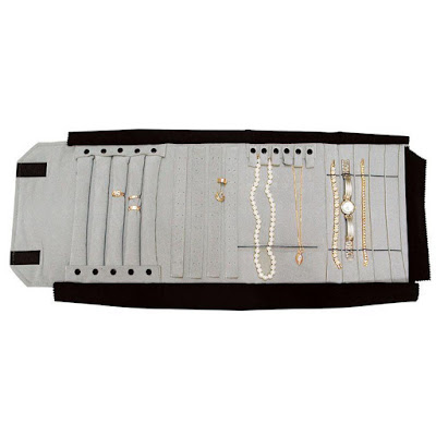 Deluxe Velvet Combination Jewelry Storage and Presentation Roll from Nile Corp