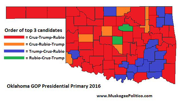MuskogeePolitico Oklahoma Election Maps Top 3 By County