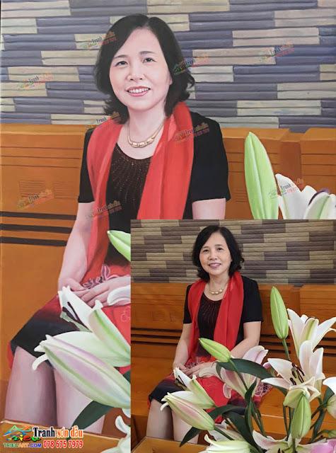 vẽ chân dung sơn dầu tặng cô giáo