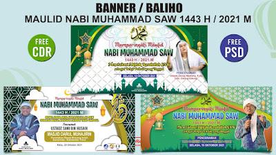 Banner Maulid Nabi Muhammad 1443 H