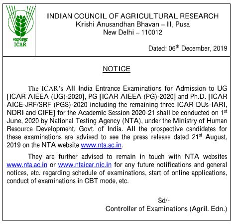 ICAR exam 2020 by nta icar , ICAR AIEEA Exam 2020, ICAR JRF Exam 2020,ICAR UG Exam 2020,ICAR PG Exam 2020
