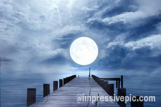 Beautiful moon good night image for WhatsApp