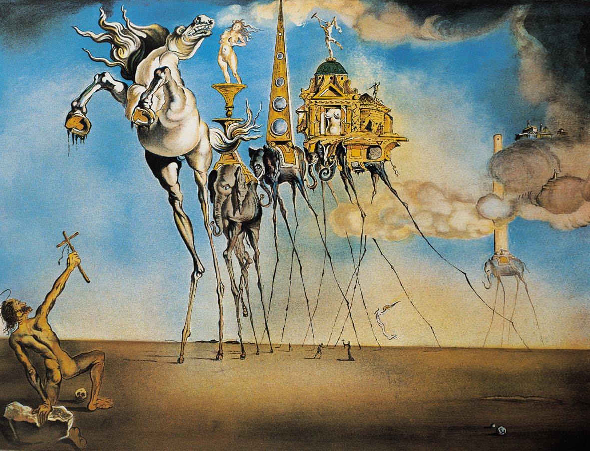 Pintura A Tentação de Santo Antônio, 1946, Salvador Dalí