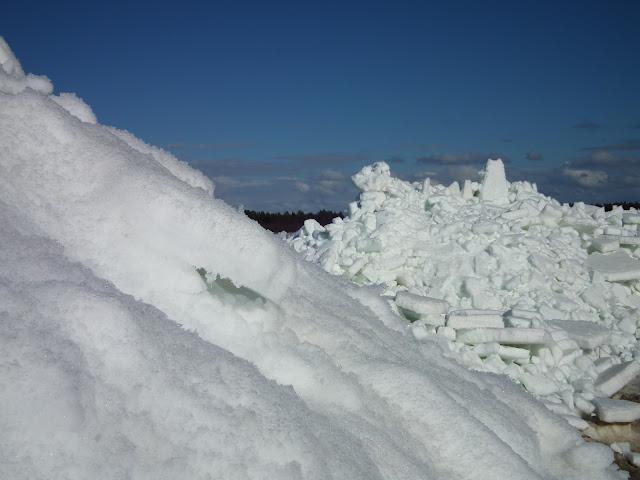 jää, jääröysteet, ahtojää, ranta. Laitapauha, perämeri, kevät,