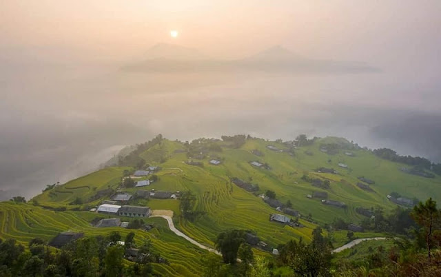 Hoang Su Phi terraced fields in rainy season