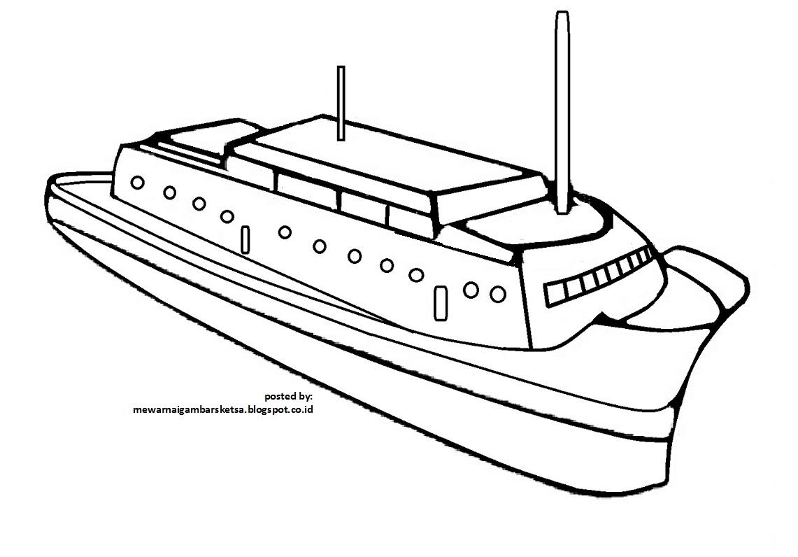 Gambar Mewarnai Gambar Kapal Alat Transportasi Laut Di Rebanas