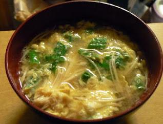 エノキの卵とじ味噌汁