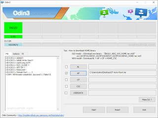 Odin3.07 Flash Completed for Samsung Galaxy