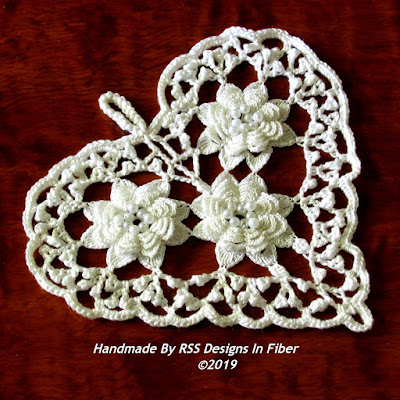 White Irish Crochet Heart with Pearl Beads - Handmade By Ruth Sandra Sperling at RSS Designs In Fiber