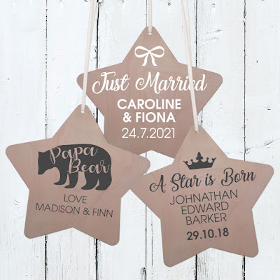 Personalised Wooden Star Plaques - range of designs available