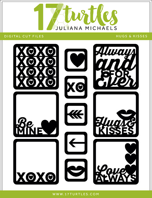 Hugs & Kisses Valentine's Day Free Digital Cut File by Juliana Michaels 17turtles