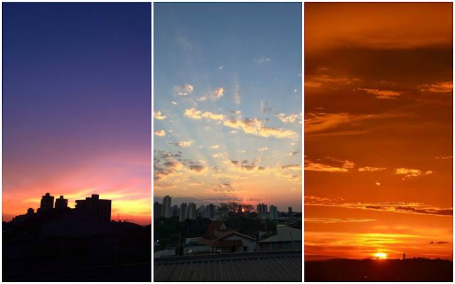 Colagem com três fotos do pôr do sol diferentes