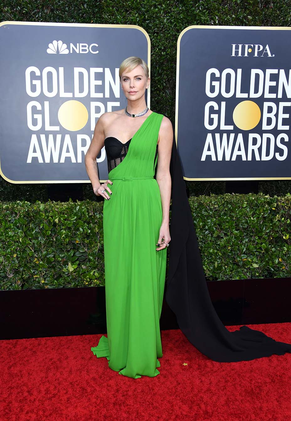Charlize Theron Slays 2020 Golden Globes Red Carpet in Sexy One-Shoulder Gown