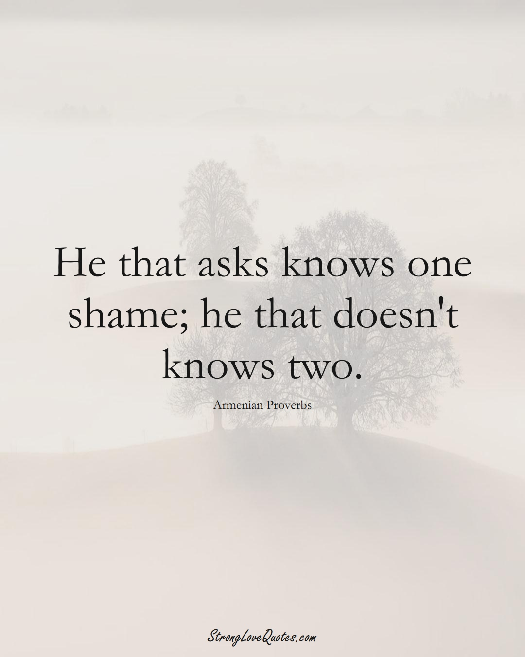 He that asks knows one shame; he that doesn't knows two. (Armenian Sayings);  #AsianSayings
