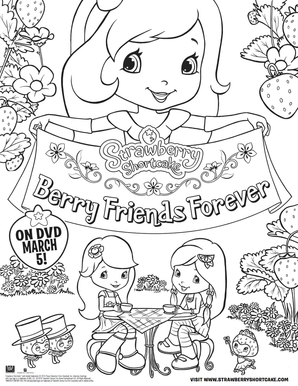Strawberry Shortcake Birthday Coloring Pages 6 12 Strawberry ... | 1600x1236