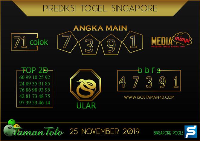 Prediksi Togel SINGAPORE TAMAN TOTO 25 NOVEMBER 2019
