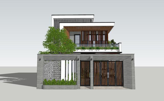 Mặt chính model biệt thự phố hiện đại 2021