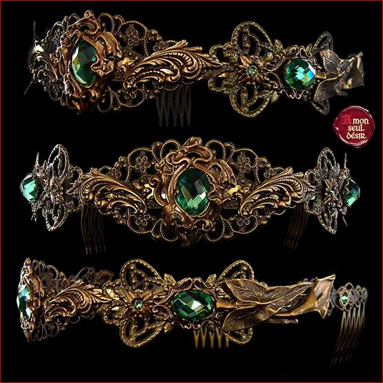 couronne medievale florale printemps bronze vert peridot mariage renaissance