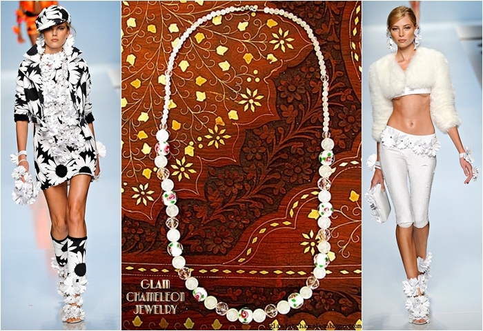 Glam Chameleon Jewelry white flower glass beads and rose quartz necklace
