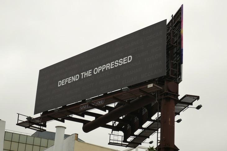 Defend the oppressed billboard