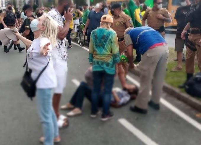 Curitiba: Mulher esquerdista que jogou macarujá congelado na cabeça de manifestante da marcha da família está presa