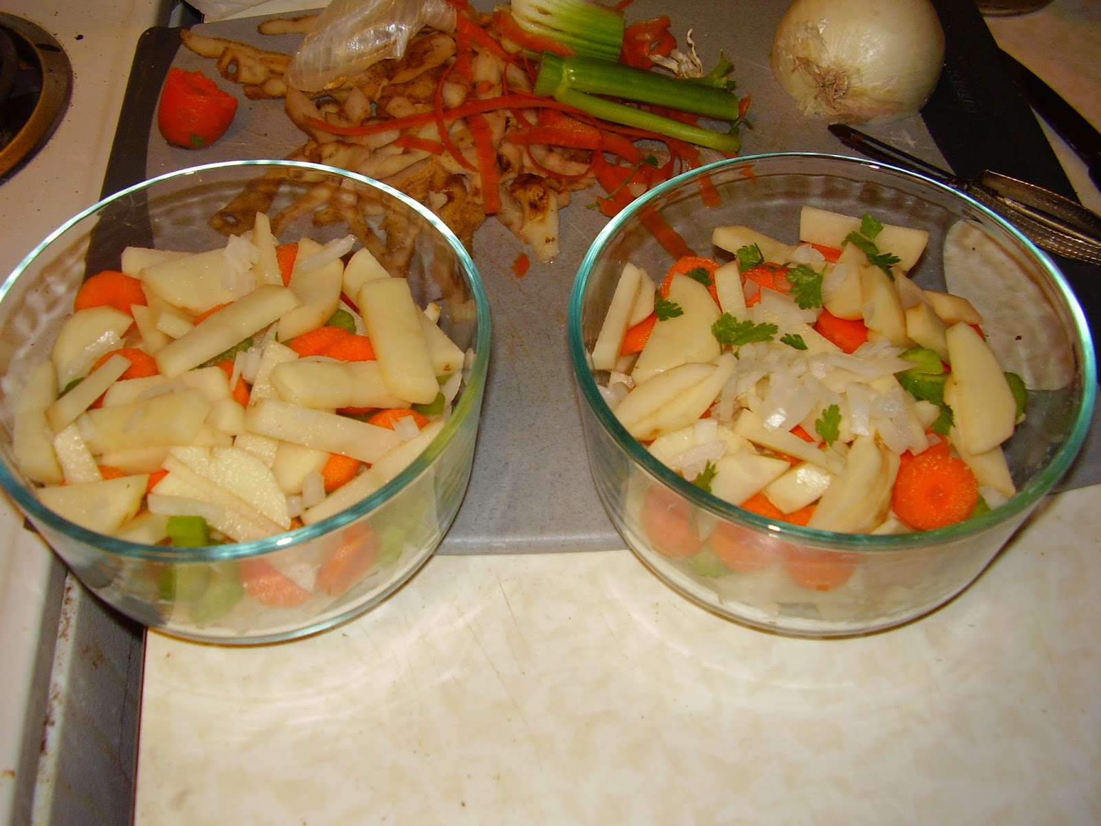 Sliced vegetables for a Victorian savory pie.