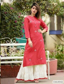 Authentic Rayon Embroidered Kurti and Palazzo Sets