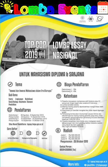 Lomba Essay Nasional TOPCOP UGM 2019 Mahasiswa