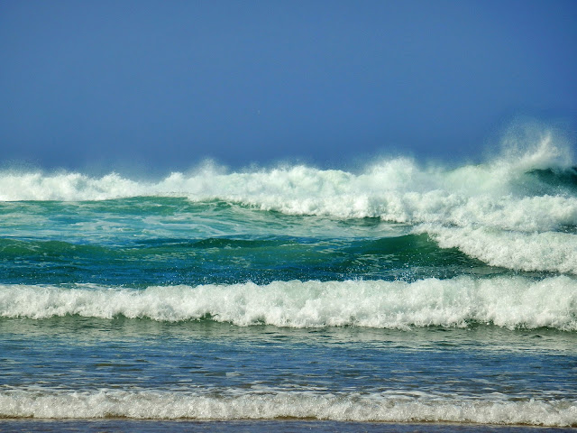 The surf and waves at Perranporth Beach