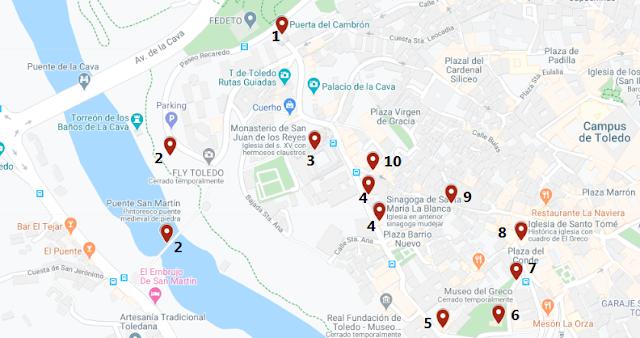qué ver judería de Toledo mapa