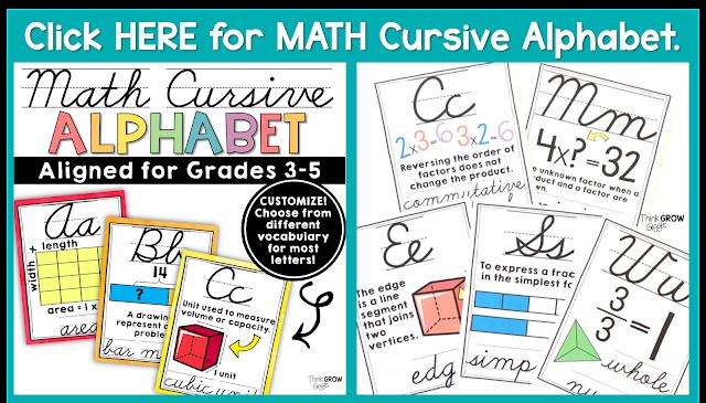 math cursive alphabet printable PDF