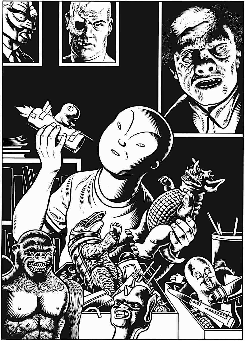 Charles Burns' Big Baby playing with his toys