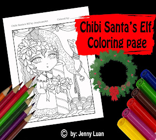 chibi santas elf coloring page for adult