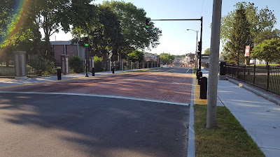 the new polymer 'brick' crosswalk in front of Dean College
