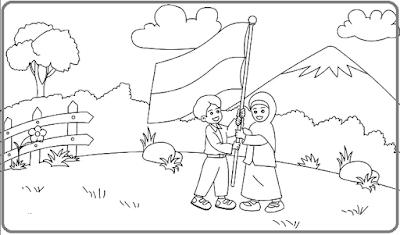 Sketsa Gambar Upacara Bendera Untuk TK