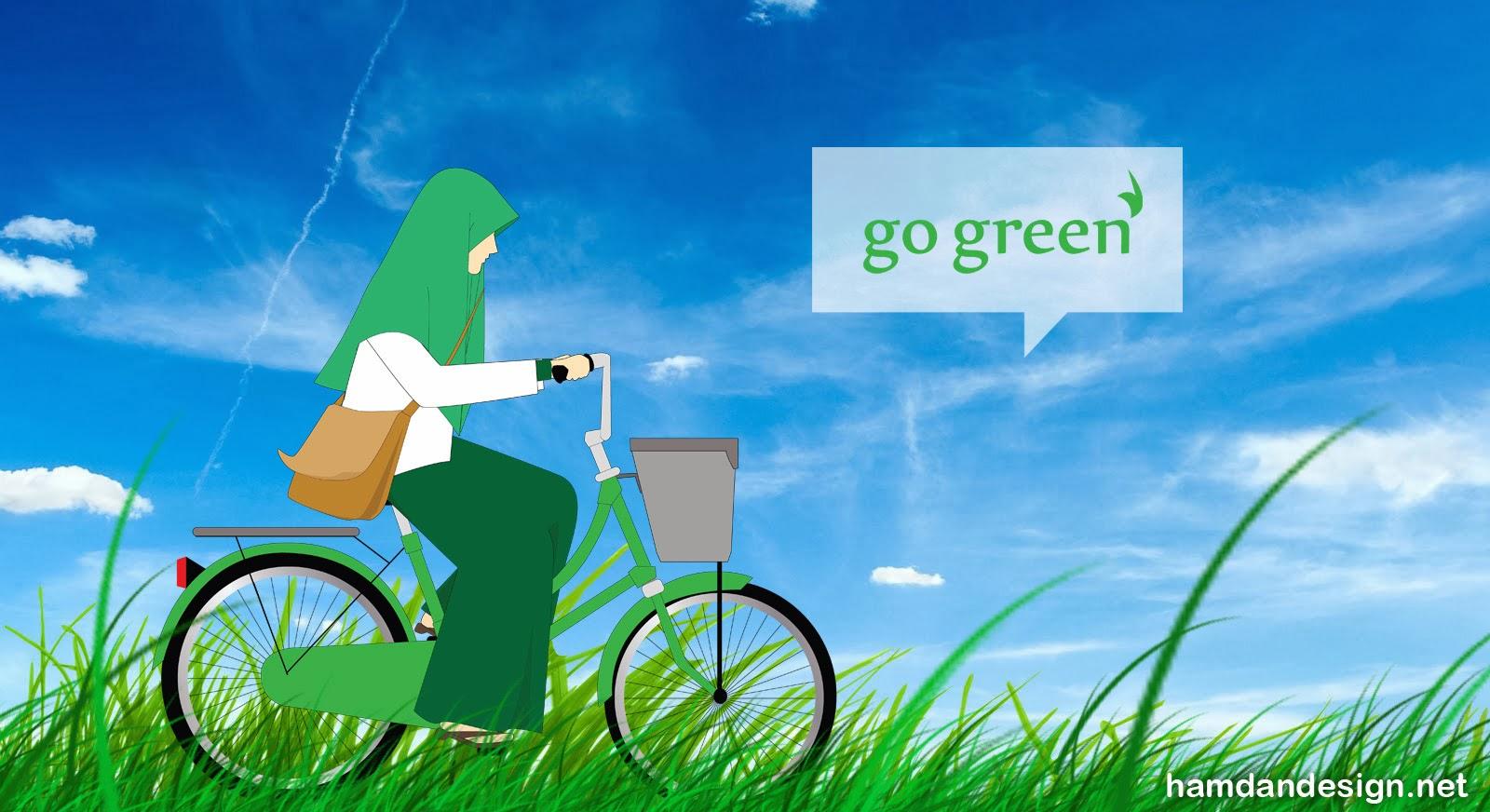 Kartun Akhwat Muslimah Bersepeda Go Green Kartun