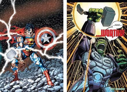 Tanto Superman (DC) como Hulk cuando estaba en SHIELD poseyeron el Mjolnir de Thor
