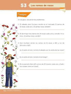 Apoyo Primaria Desafíos Matemáticos 4to. Grado Bloque III Lección 53 Los ramos de rosas