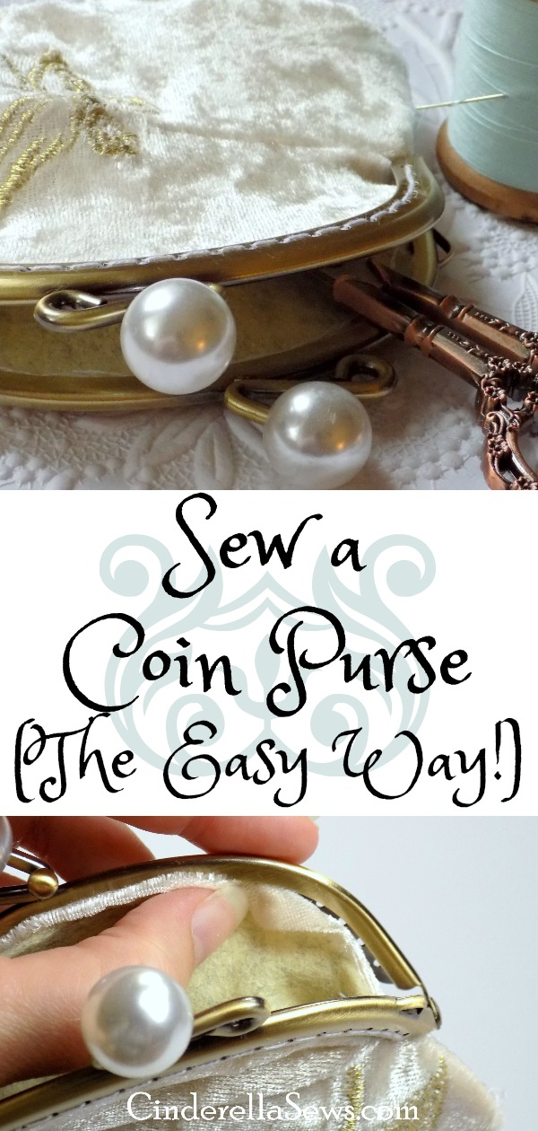 How to sew an easy framed coin purse. Perfect for a DIY gift, Victorian, steampunk, or fairy tale costume, or even a wedding accessory! #sewing #sewingproject #freesewingpattern #crafts