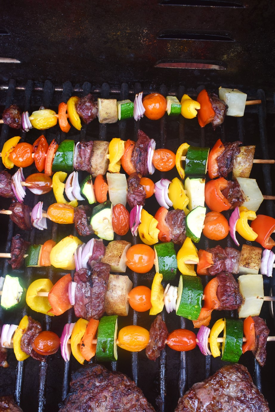 Steak kebabs on the grill