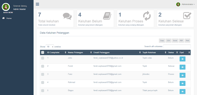 Source Code PHP Costumer Service dengan CodeIgniter