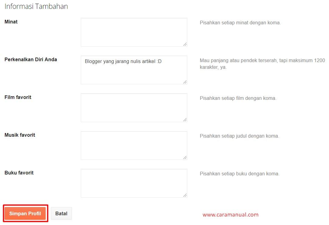 informasi tambahan profile blogger
