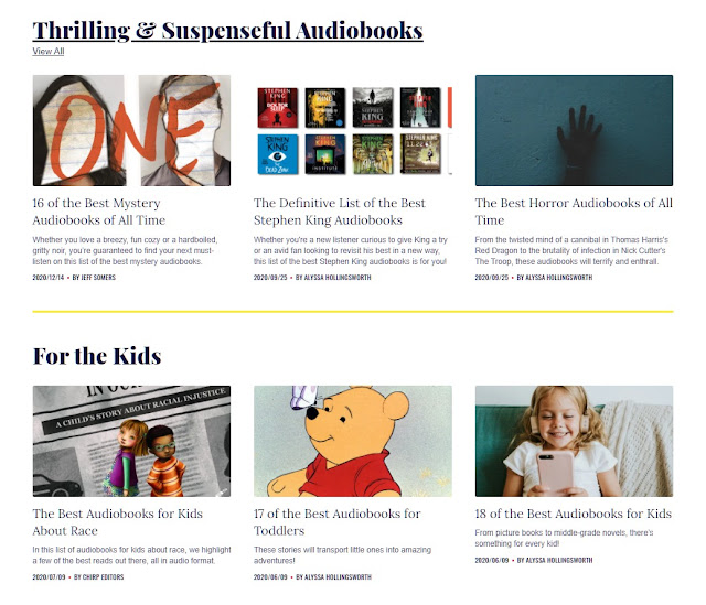 Screenshot of Chirp's recommended book lists for kids