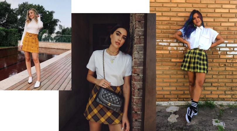 Trend Minissaia Xadrez Amarela: Looks Para Arrasar No Inverno e Verão