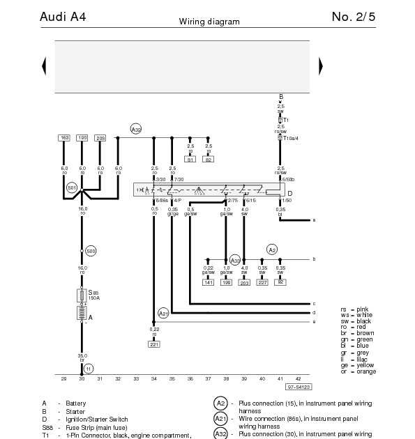 The Audi A4's Wiring diagram for IgnitionStarter Switch