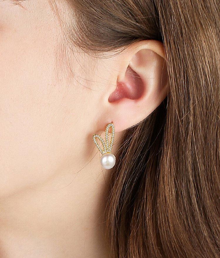 俏皮長耳兔淡水真珍珠耳環
