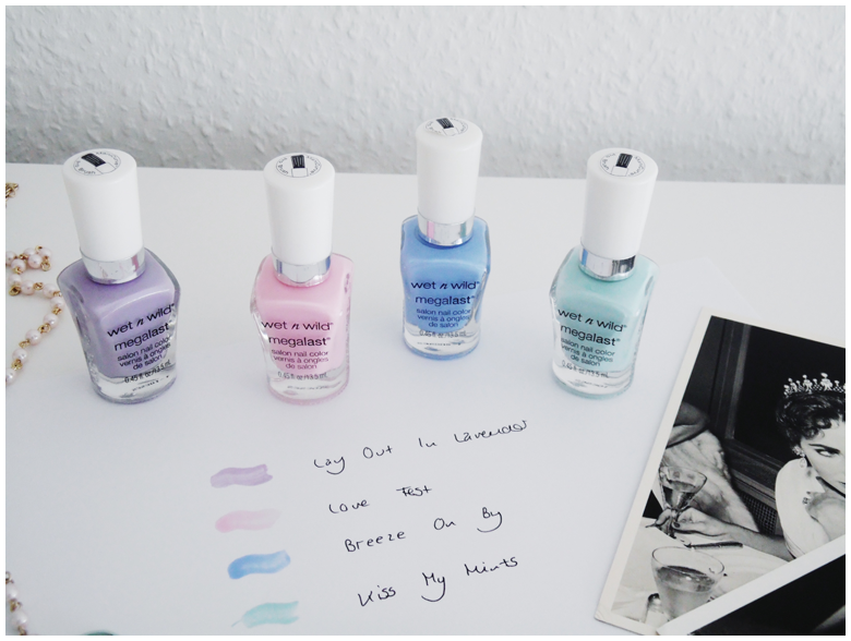 beauty | wet'n'wild | nail polish | lay out in lavender, love fest, breeze on by & kiss my mints | more details on my blog http://junegold.blogspot.de | life & style diary from hamburg | #beauty #wetnwild #wetnwildbeauty  #nailpolish #megalastnailpolish #layoutinlavender #lovefest #breezeonby #kissmymints