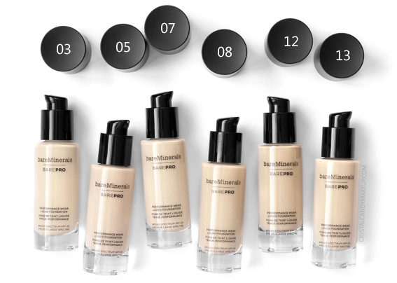 BareMinerals BarePRO Performance Wear Liquid Foundation 03 05 07 08 12 13