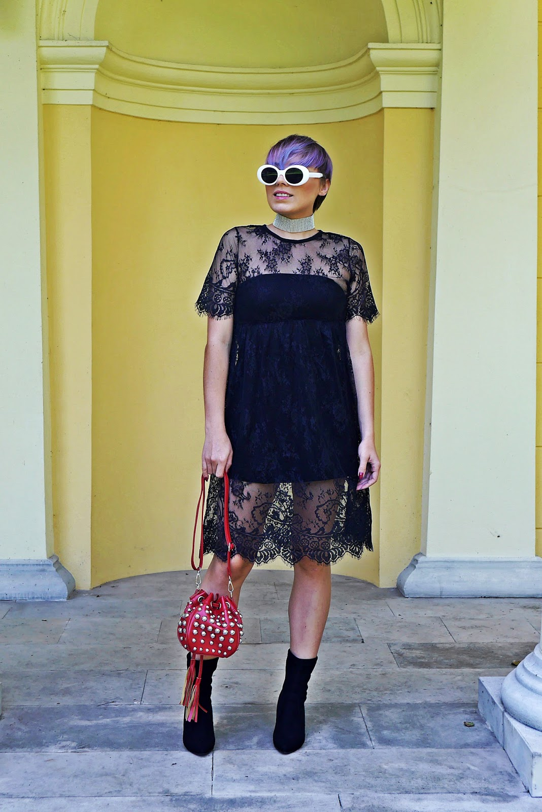 1_rosegal_lace_dress_red_bag_studs_socks_shoes_boots_white_retro_sunglass_karyn_blog_130917a